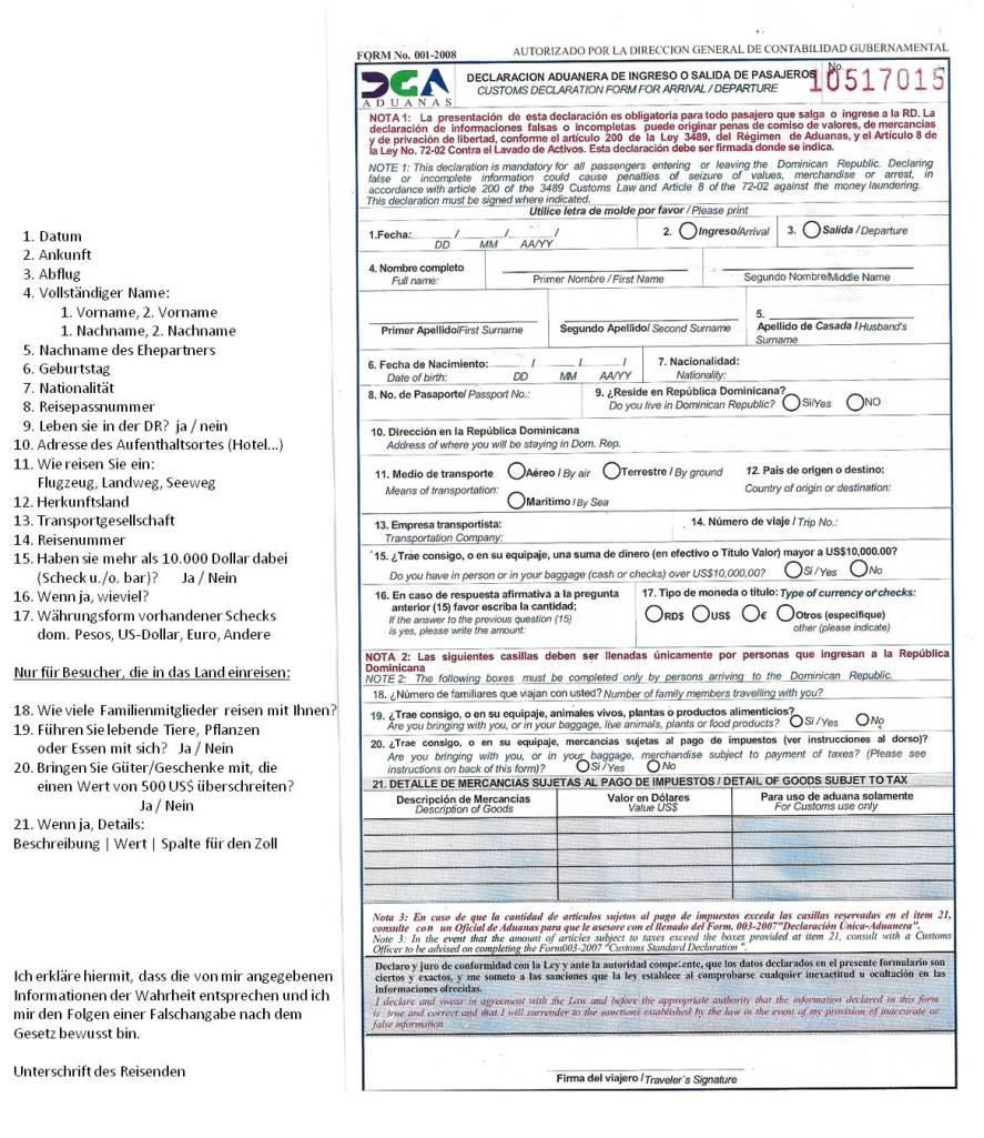 Einreiseformular dominikanische republik pdf file